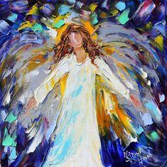 Original oil New Year ANGEL painting modern by Karensfineart