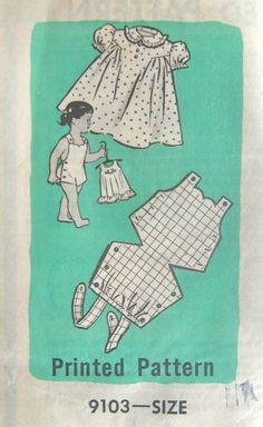 Your place to buy and sell all things handmade Vintage Marian Martin 9103 Pattern - Childs sunsuit & Robe Mail Order, Taille 1 Sewing Baby Clothes, Doll Clothes Patterns, Baby Sewing, Childrens Sewing Patterns, Sewing For Kids, Vintage Sewing Patterns, Mode Vintage, 50s Vintage, Heirloom Sewing
