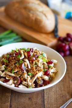 This honey chicken salad with grapes and feta is fresh and simple. Includes chicken, feta, red grapes, wheat berries, and honey lemon dressing. #glutenfree #vegetarian #healthy #healthyrecipe #cleaneating | pinchofyum.com