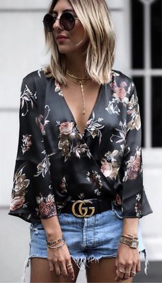 #summer #outfits Black Floral Blouse + Ripped Denim Short