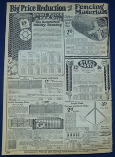 Fencing Materials Gardening Tools Vintage Antique 1920s Wards Double Page Ad | eBay