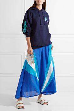 Koza | Cleo poplin-paneled cotton-gauze midi skirt | NET-A-PORTER.COM