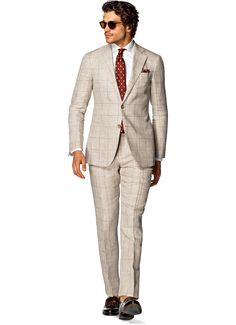Suit Light Brown Check Hudson P4233   Suitsupply Online Store