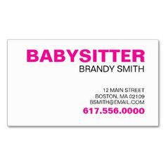 Babysitter business card templates childcare business cards babysitting cards templates free business cards for babysitters profilecard wajeb Gallery