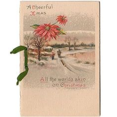 """Vintage circa 1900s Christmas Card Greeting. Features a snow sled, horse, men along with poinsettias. Card opens to verse on inside page. Reads, """"With all Good"""