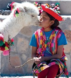 Alpaca kisses in Peru. Experience the world with Intrepid Travel. Alpacas, Beautiful World, Beautiful People, Inca, Thinking Day, Tier Fotos, People Around The World, Beautiful Children, World Cultures