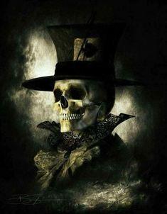by Bud Sypeck Skull Artwork, Skull Painting, Dark Fantasy Art, Dark Art, Badass Skulls, Horror, Skull Pictures, Skeleton Art, Harley