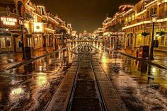 Empty Main Street after a rain