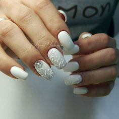 Beautiful wedding nails, Bridal nails, Dimension nails, January nails, Nails with acrylic powder, New year nails ideas 2017, Party nails, Snow nails