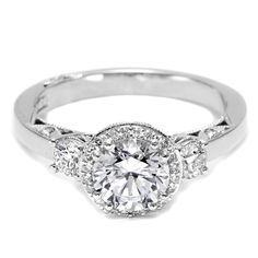#Tacori Dantela Collection 3 Stone #Diamond Engagement Ring in #Whitegold