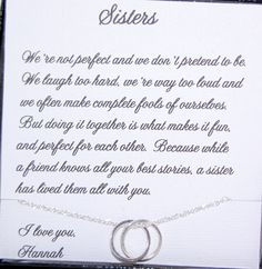 SISTER necklace, Sister Maid of Honor, Birthday gift for Sister, Sisters POEM, Inseparable necklace, Sterling silver rings, Unending circles