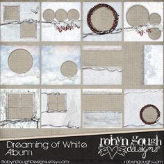 Winter Snow Digital Quick Page Album - Christmas Digital Scrapbook Album Dreaming of White - 12 Premade Layout Pages by Robyn Gough Designs on Etsy