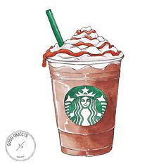 """Good Objects Illustration on Instagram: """"Good objects - Caramel frappuccino! #butfirstcoffee #starbucks #frappuccino @starbucks @frappuccino #goodobjects #illustration"""""""