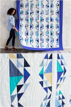 Santorini Quilt Kitby Nancy Smith featuring Boundless Fabrics Solids.   Give yourself a Greek-inspired getaway at a reasonable price! Santorini,   by Nancy Smith, artfully blends color and piecing for the perfect   quilt.  The traditional block design combined with bright and sunny   Boundless Solids will make this quilt a joy to create! affiliate link.    #indigoquilt #quilting