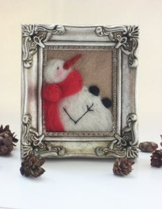 Needle Felted Snowman Picture Frame  by MyriamPowellDesigns