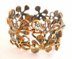 Alice Caviness Copper Bracelet Floral Cut-Out Vintage Rare