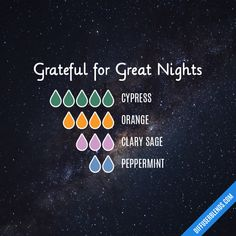 Grateful for Great Nights - Essential Oil Diffuser Blend Essential Oils Christmas, Essential Oils For Pain, Essential Oils Guide, Essential Oil Scents, Essential Oil Perfume, Essential Oil Diffuser Blends, Doterra Essential Oils, Young Living Essential Oils, Essential Oil Combinations