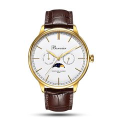 Bonvier – Cavour White/S – 42 mm Moonphase Watch, 316l Stainless Steel, Moon Phases, Watches Online, Classic White, Timeless Design, Italian Leather, Gold Watch, Watches For Men