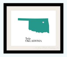 Customized Oklahoma State Love Map Silhouette 8x10 Print / $16.50 / AsYouWishPrinting on Etsy