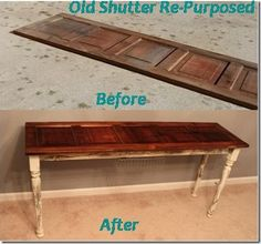 Old Shutter turned Sofa Table