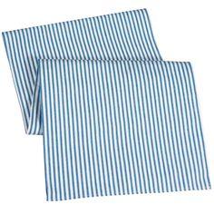 "Table Runners Ticking Stripe Machine wash. Polyester. 90"" x 15"" Wide. 1/4"" hem. Price: $42.00"