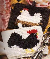 Free crochet pattern for a chicken and rooster potholder-for my friends who have chicken decor in their kitchens...good apple hotpad pattern on her site too.