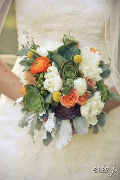 Actual Bridal bouquet...white peonies, succulents, peach and.billy balls