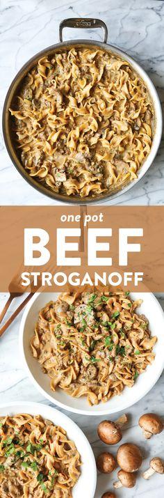 One Pot Beef Stroganoff Recipe   Damn Delicious Beef Recipes, Cooking Recipes, Healthy Recipes, Easy Recipes, Healthy Food, Recipies, One Pot Beef Stroganoff Recipe, Chicken Stroganoff, One Pot Meals