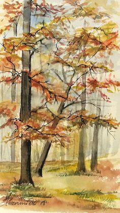 Aquarelle M.P Désormière  Sous-bois en automne #aquarelles #watercolor #automne #forêt #trees #automn