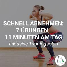 Wer schnell abnehmen will, muss seinen Energieverbrauch durch Sport ankurbeln. In diesem Beitrag findest du ein 11 Minuten Workout mit 7 effektiven Übungen für Bauch und Oberschenkel, die du zu Hause oder draußen machen kannst! #ernährung #abnehmen #gesundheit #gesund