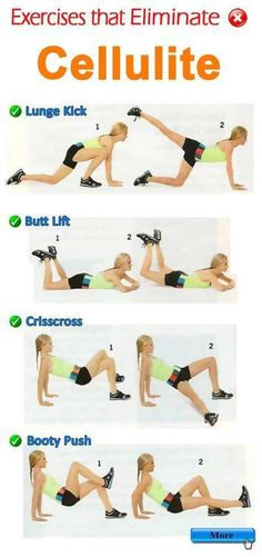 Exercises That Eliminate Cellulite ..... Lunge Kick, Butt Lift, Crisscross, Booty push .... kur Visit my site http://youtu.be/4yfEGZnJ96M