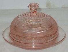 Pattern:   Homespun Depression Glass  Manufacturer:   Jeannette Glass Company