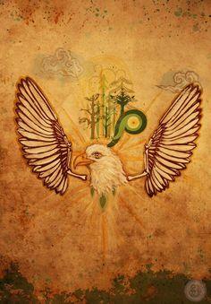 Eagle Spirit Animal, mixed media painting by Selena Dugan-Fields. Mixed Media Painting, Children's Book Illustration, Spirit Animal, Childrens Books, Eagle, Shamanism, Selena, Fields, Animals