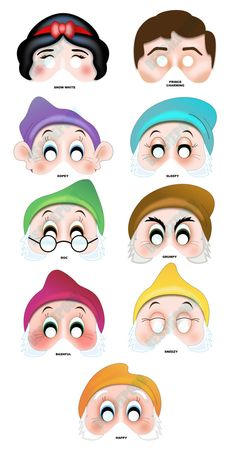 DISNEY PRINCESS PARTY Printable Mask Collection. Snow White, Prince Charming and 7 Dwarfs. Photo booth prop.. $12.00, via Etsy.