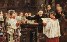 José Gallegos y Arnosa (Spanish painter) 1859 - 1917  Choir Practise, 1909  oil on panel  10 1/2 x 16 in. (26.7 x 40.6 cm.)