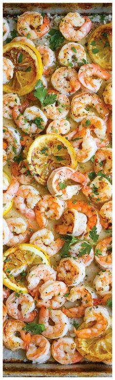 Sheet Pan Garlic Butter Shrimp ~ so easy and delicious flavor. Use less butter next time A complete sheet pan dinner with only 5 ingredients. JUST Plus, who can resist that garlic butter sauce, right? Fish Recipes, Seafood Recipes, Cooking Recipes, Healthy Recipes, Recipies, Shrimp Dinner Recipes, Yummy Dinner Recipes, Shrimp Meals, Paleo Dinner