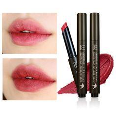 Natural Button Lips Matte Click lipstick Press Button Design Matte Lipstick Women Lip Cosmetics Moisture Fresh Bean Lipstick -- BuyinCoins.com