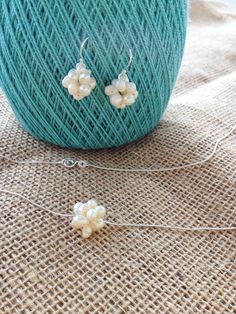 Perfect #gift for #Mom for #MothersDay Cotton Boll Necklace and Earrings Set  #Pearl Cluster by AquaAnchorDesigns
