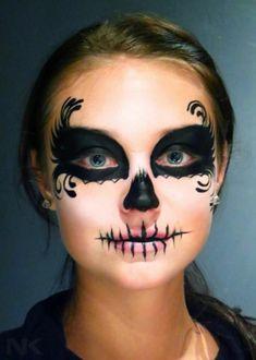 Make-up Tips Carnival: 40 ideas for face painting - Karneval - halloween schminke Sugar Skull Make Up, Sugar Skull Face Paint, Sugar Skull Makeup Easy, Sugar Skull Costume Diy, Sugar Skulls, Skeleton Face Makeup, Halloween Face Makeup, Skeleton Face Paint Easy, Zombie Face Paint