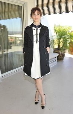 The Demure Felicity Jones - Felicity Jones in Miu Miu dress and Burberry trench