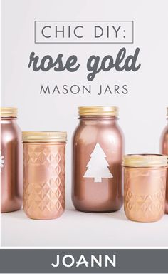 Add a chicness to your holiday decorations this year by making these DIY Rose Gold Mason Jars! Check out the full project tutorial from JOANN to learn how simple this festive craft is. Gold Mason Jars, Mason Jar Gifts, Painted Mason Jars, Mason Jar Diy, Wine Bottle Crafts, Jar Crafts, Festive Crafts, Crafty Craft, Crafting