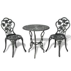 Bistro Set Metal Garden Table Chairs 2 Seater Floral Traditional Patio Conservat