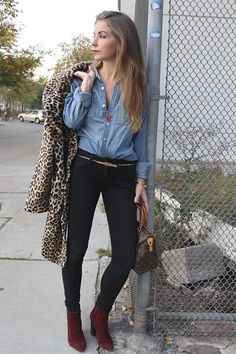 How to wear Denim on Denim Leopard Coat Why Did You Wear That Kirsten Smith