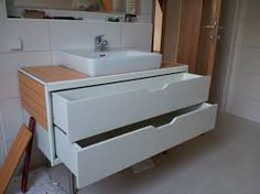 Image result for vanity with a rectangular bathroom basin