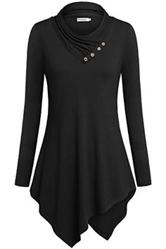 Tunic Tops to Wear with LeggingsOuncuty Cowl Neck Casual Feminine Wear Black M -- Click on the affiliate link Amazon.com on image for additional details.