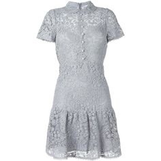 Red Valentino shortsleeved macramé dress featuring polyvore, women's fashion, clothing, dresses, grey, gray dress, short-sleeve dresses, red valentino dress, grey dress and red valentino
