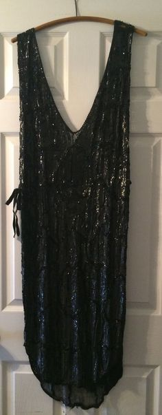 Vintage Art Deco 1920s Black Sequin Beads Beaded Flapper Dress Tunic Open Sided