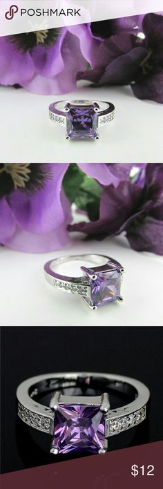 New Purple Square Cut CZ Silver Cocktail Ring New. Cubic zirconia square cut gemstone cocktail fashion ring. Color: Silver/Purple/Clear. Metal: Sterling Silver. Item#: R024-2 Jewelry Rings