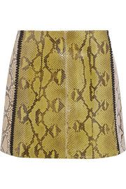 Marni Two-Tone Glossed-Python Mini Skirt as seen on Lily Aldridge Fall Skirts, Short Skirts, Mini Skirts, A Line Mini Skirt, A Line Skirts, Python, Brown Skirts, Rock, Printed Skirts