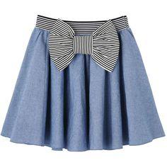 チェック柄スクエアネック裾フリルワンピース ❤ liked on Polyvore featuring skirts, mini skirts, bottoms, saias, blue, blue mini skirt and blue skirts